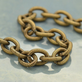 Brass Chain by the Foot - Lg Oxidized Scored Oval Links