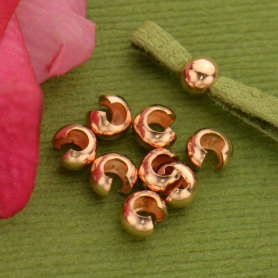 14K Rose Gold Filled Crimp Covers - 4mm