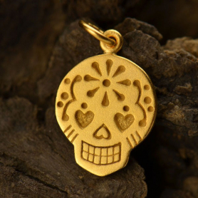 Small Sugar Skull Charm - 24K Gold Plated BronzeDISCONTINUED