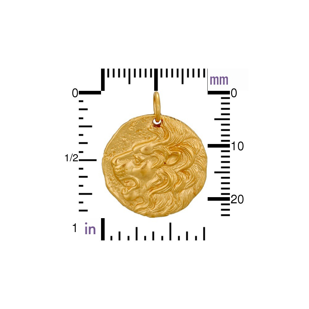 Ancient Coin Charm - Lion - 24K Gold Plated Bronze 24x20mm