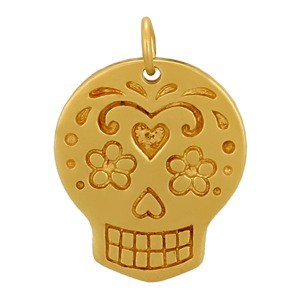 Large Sugar Skull Charm - 24K Gold Plated BronzeDISCONTINUED