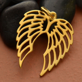 Openwork Double Wing Charm - Gold Plate Bronze DISCONTINUED