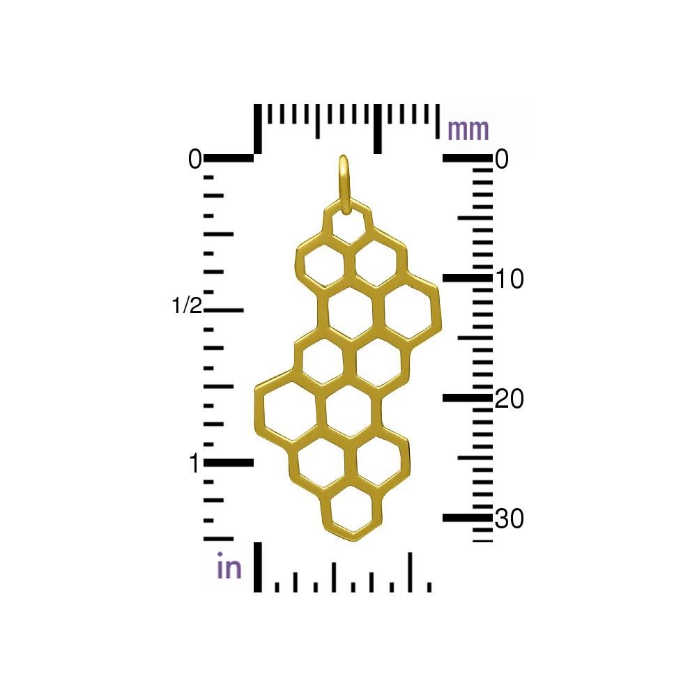 Honeycomb Charm - 24K Gold Plated Bronze 32x16mm