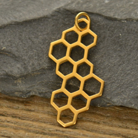 Honeycomb Charm - 24K Gold Plated Bronze 32x16mm