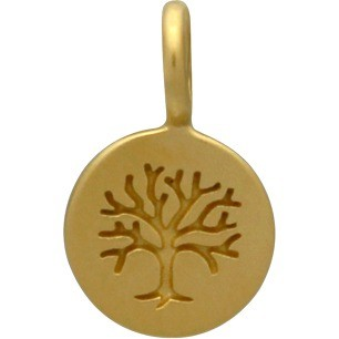 24K Gold Plated Bronze Tree of Life on Round Charm 13x8mm