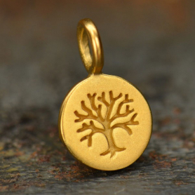 24K Gold Plated Bronze Tree of Life on Round Charm -8mm