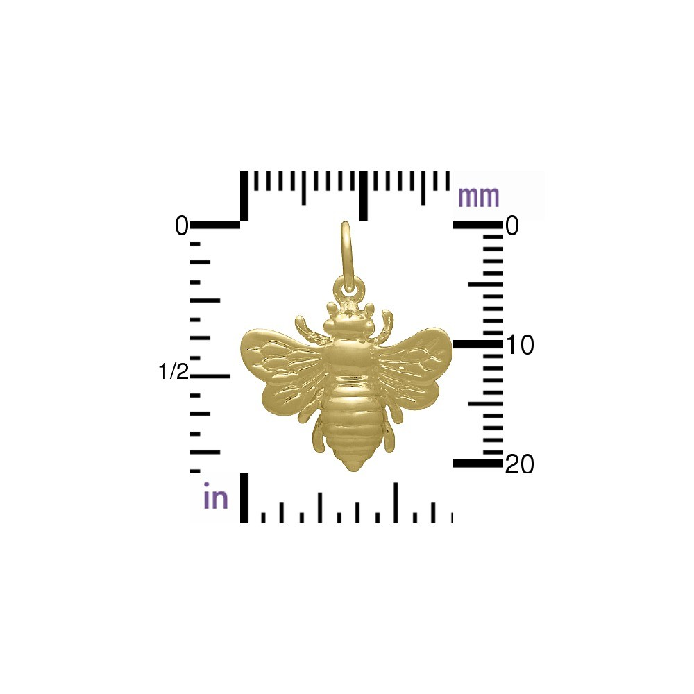 Large Bee Charm - 24K Gold Plated Bronze 20x18mm