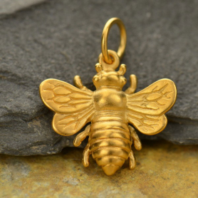 Large Bee Charm - 24K Gold Plated Bronze