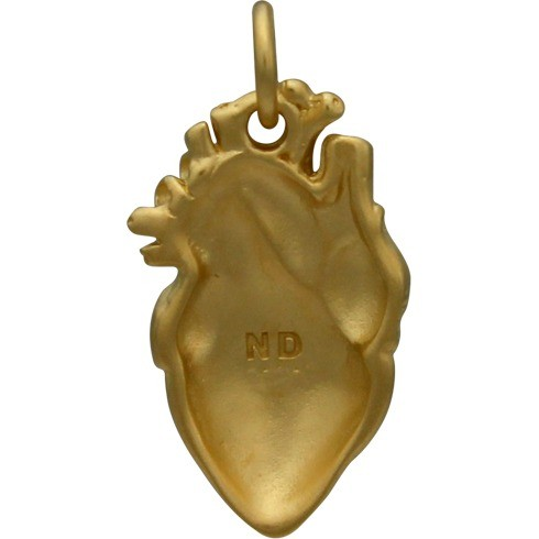 Anatomical Heart Charm - 24K Gold Plated Bronze DISCONTINUED