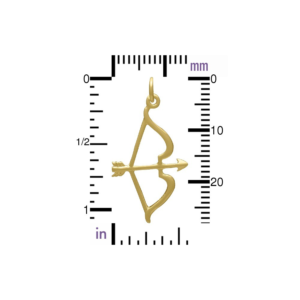 Bow and Arrow Charm - 24K Gold Plated Bronze DISCONTINUED