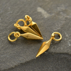 Small Spike Charm - 24K Gold Plated Bronze