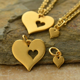 Heart Charm with Heart Cutout Set Gold Plated Bronze 16x13mm