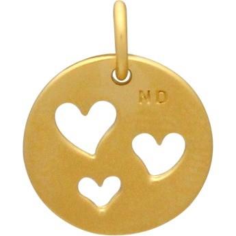Round Charm 1 Heart Cutouts 24K Gold Plt BronzeDISCONTINUED