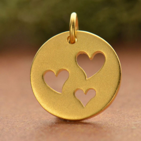 Round Charm 1 Heart Cutouts 24K Gold Plt BronzeDISCONTINUED