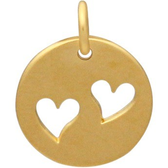 Round Charm with 2 Heart Cutouts Gold Plated Bronze 16x12mm