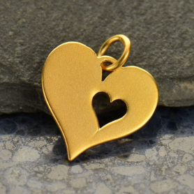 Heart Charm with One Heart Cutout - 24K Gold Plated Bronze