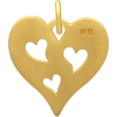 Heart Charm with 3 Heart 24K Gold Plated Bronze DISCONTINUED