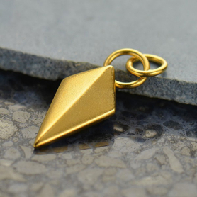 Spike Shield Charm - 24K Gold Plated Bronze DISCONTINUED