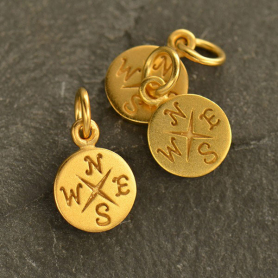24K Gold Plated Bronze Compass Charm 14x8mm