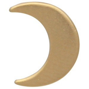Large Moon Bead - 24K Gold Plated Bronze 12x9mm