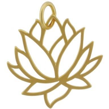 Large Lotus Pendant - 24K Gold Plated Bronze