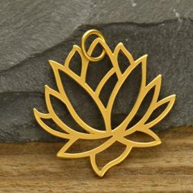 Large Lotus Pendant - 24K Gold Plated Bronze 35x31mm