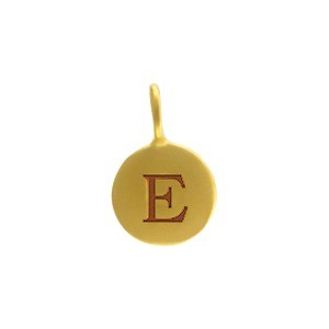 Alphabet Charm Intial E- 24K Gold Plated Bronze DISCONTINUED