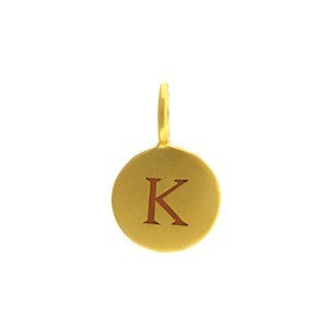 Alphabet Charm Intial K- 24K Gold Plated Bronze DISCONTINUED