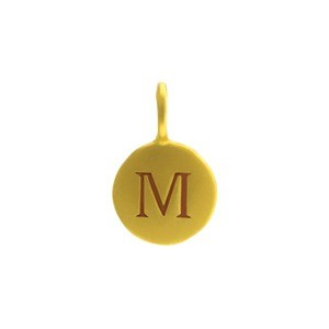 Alphabet Charm Intial M- 24K Gold Plated Bronze DISCONTINUED