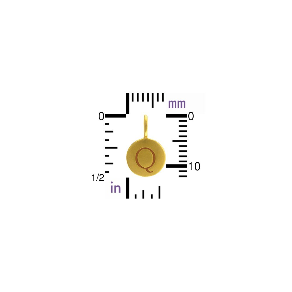 Alphabet Charm Intial Q- 24K Gold Plated Bronze DISCONTINUED