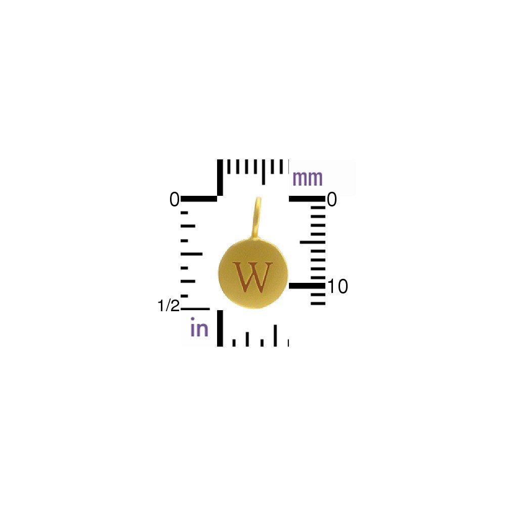 Alphabet Charm Intial W- 24K Gold Plated Bronze DISCONTINUED