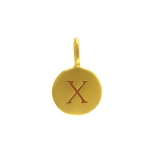 Alphabet Charm Intial X- 24K Gold Plated Bronze DISCONTINUED