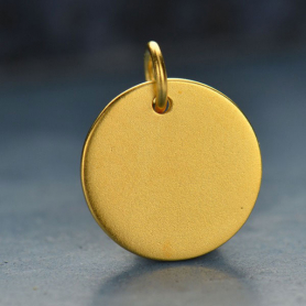 Large Round Stamping Blank - 24K Gold Plated Bronze 15x12mm