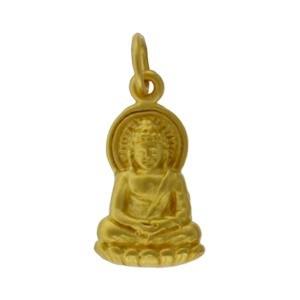 Buddha Charm - 24K Gold Plated Bronze 20x9mm