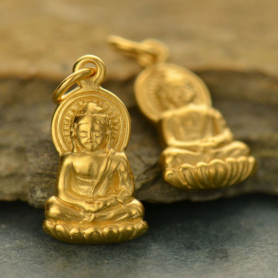 Buddha Charm - 24K Gold Plated Bronze 20x9mm