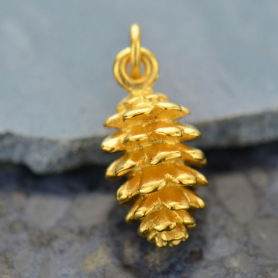 Pinecone Charm - 24K Gold Plated Bronze 17x7mm