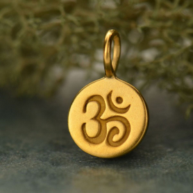 Sm Round Charm with Etched Om -Gold Plated Bronze 13x8mm