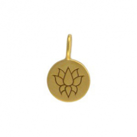 Sm Round Charm with Etched Lotus -Gold Plated Bronze 13x8mm