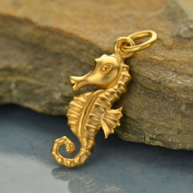 3D Seahorse Charm - 24K Gold Plated Bronze DISCONTINUED