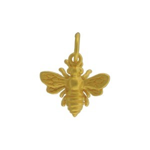 Small Bee Charm -24K Gold plated Bronze 14x12mm
