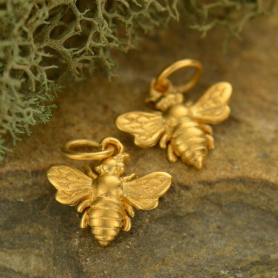 Small Bee Charm -24K Gold plated Bronze