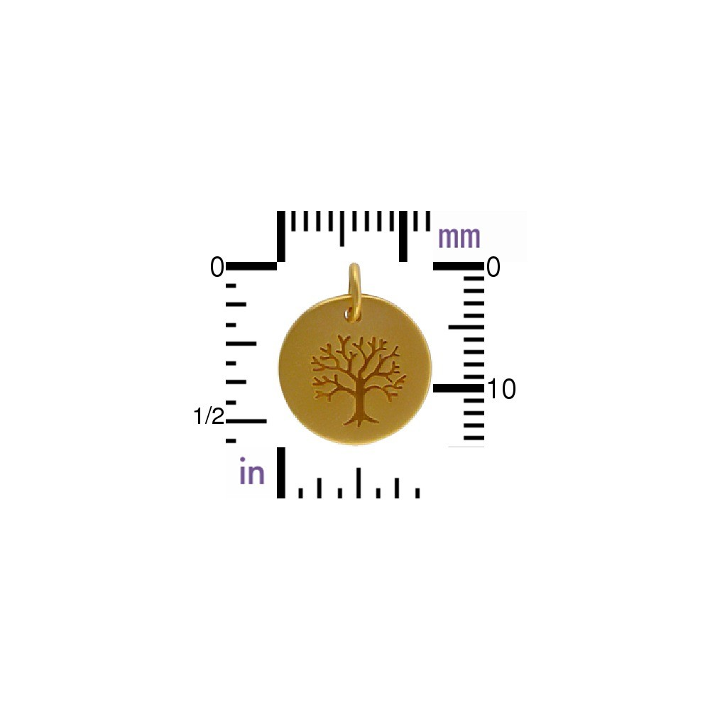 Gold Plated Bronze Tree of Life on a Round Charm 16x12mm