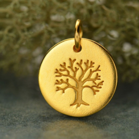 Gold Plated Bronze Tree of Life on a Round Charm -12mm