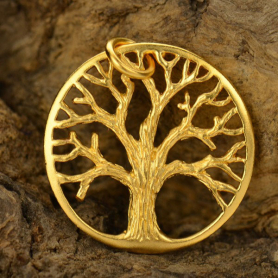 Med Textured Tree Pendant -Gold Plate Bronze DISCONTINUED