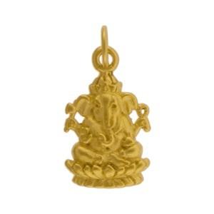 Ganesh Charm - 24K Gold Plated Bronze 20x10mm