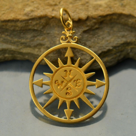 Compass Rose Pendant - 24K Gold Plated Bronze 30x20mm