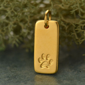 Paw Print Charm on Rectangle Tag - 24K Gold Plated Bronze