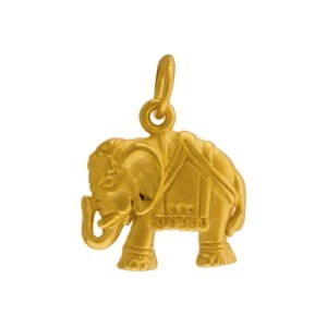Elephant Charm - 24K Gold Plated Bronze 17x13mm