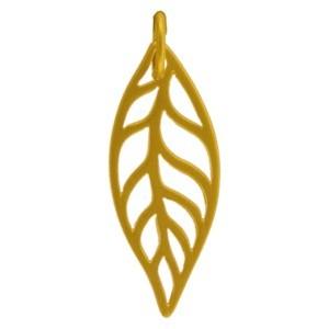 Leaf Charm - 24K Gold Plated Bronze 24x8mm