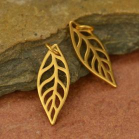 Leaf Charm - 24K Gold Plated Bronze